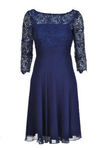 Gina Bacconi Cropped Sleeve Lace Bodice Dress, Navy