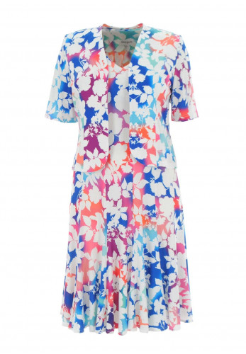 Georgede Graphic Floral Dress & Jacket, Multi-Coloured