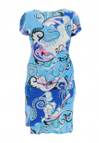 Georgede Paisley Print Wrap Front Dress, Blue Multi