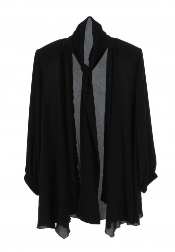 Georgede Crepe Waterfall Jacket, Black