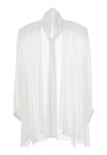 Georgede Crepe Waterfall Jacket, White