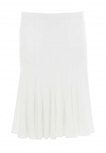 Georgede Flared Midi Skirt, White