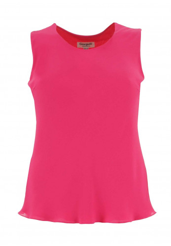 Georgede Crepe Sleeveless Top, Hot Pink