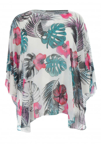 Georgede Floral Chiffon Cape Top, Multi-Coloured