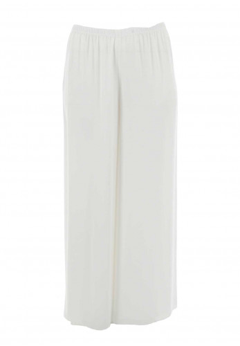 Georgede Crepe Wide Leg Trousers, White