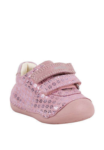 Geox Baby Girls Metallic Floral Leather Shoes, Pink