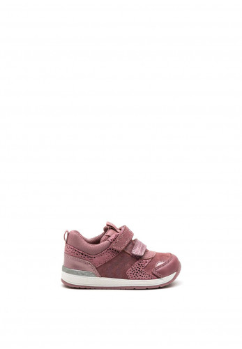 Geox Toddler Suede Foil Print Velcro Trainer, Pink