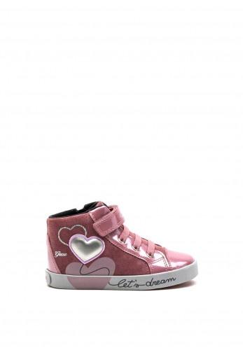 Geox Toddler Heart Lets Dream Hi Top Trainers, Pink