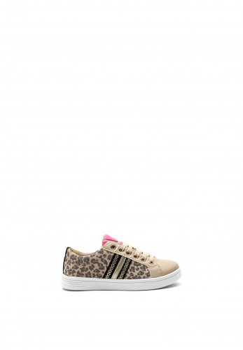 Geox Girls Leopard Lace Up Trainers, Beige