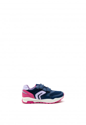 Geox Girls Pavel Sport Double Velcro Trainers, Navy