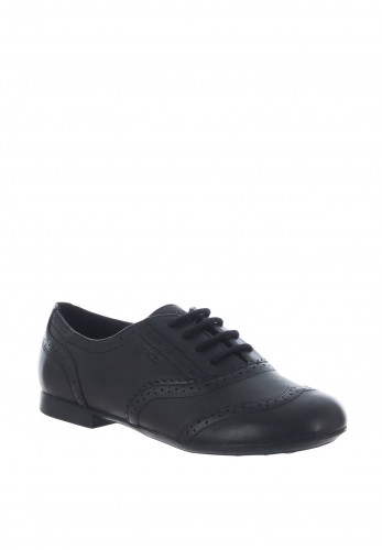 Geox Girls Leather Brogue School Shoes, Black