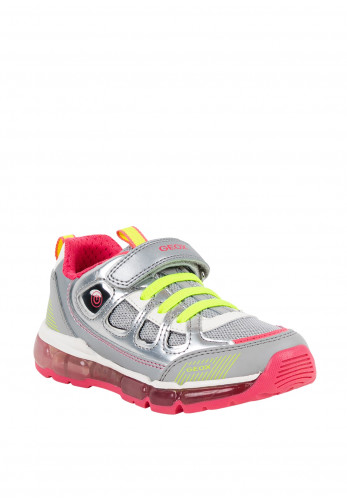 Geox Girls Leather & Mesh Velcro Strap Trainers, Silver