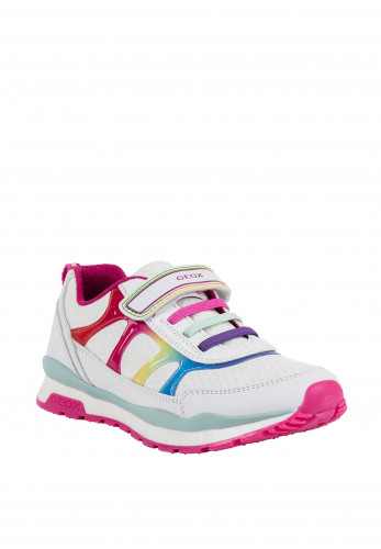 Geox Girls Rainbow Print Velcro Strap Trainers, White