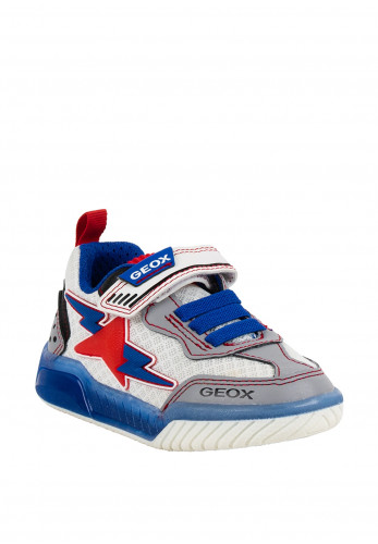 Geox Boys Lightning Trim Velcro Strap Trainers, White Multi