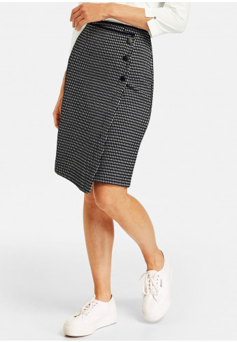 Gerry Weber Wrap Effect Houndstooth Skirt, Black