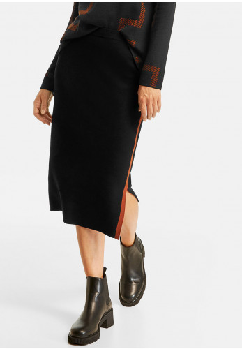 Gerry Weber Side Stripe Fine Knit Skirt, Black