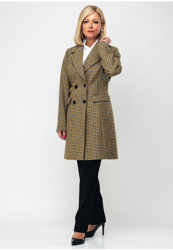 Gerry Weber Checked Double Breasted Coat, Mustard