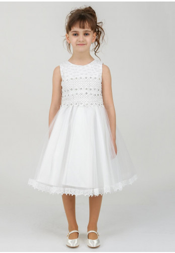 Milano Cascade Girls Embellished Tulle Dress, White