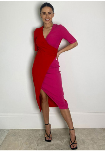 Girl in Mind Nellie Colour Block Wrap Midi Dress, Red & Pink