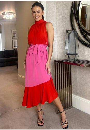 Girl in Mind Paloma Colour Block Halter Neck Tiered Midi Dress, Red & Pink