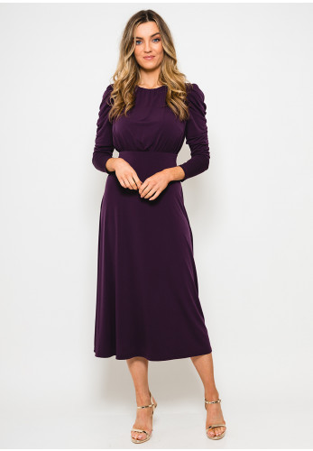 Glamorous Jersey Open Back Midi Dress, Plum Purple