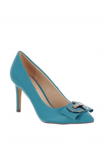 Glamour Lyla Pointed Toe Court Shoes, Teal