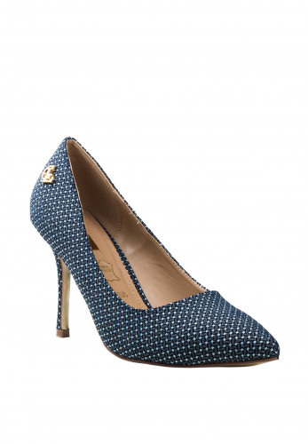 Glamour Clara Printed High Heel Shoes, Navy & White