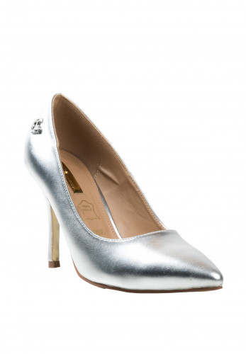 Glamour Clara Metallic High Heel Shoes, Silver