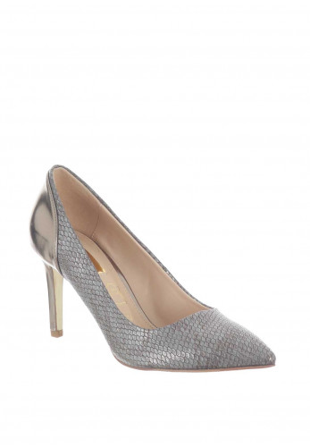 Glamour Cynthia Reptile Pointed Toe Court Shoes, Pewter