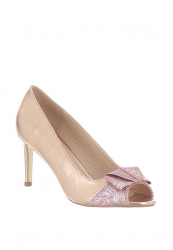 Glamour Eboine Glitter Peep Toe Heeled Shoes, Rose Gold