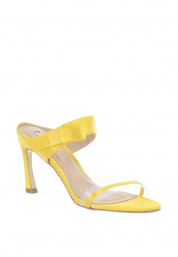 Glamour Selina Clear Strap Satin Slip on Sandals, Yellow