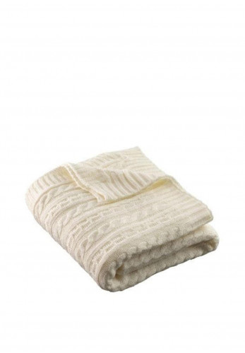 Galway Crystal Aran Knit Throw, Soft White