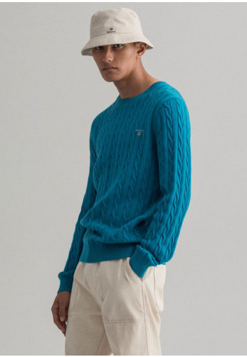 Gant Cable Knit Crew Neck Sweater, Dark Teal