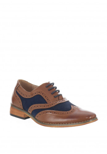 Goor Boys Formal Contrast Brogue Shoes, Tan