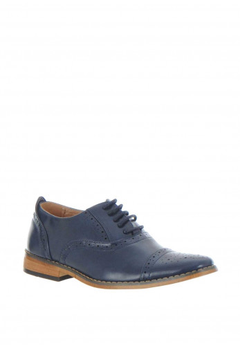 Goor Faux Leather Brogues, Navy