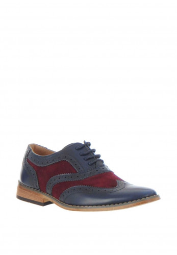 Goor Contrast Formal Brogue Shoes, Navy