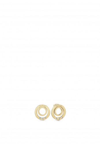 Guess Crystal Circle Stud Earrings, Gold