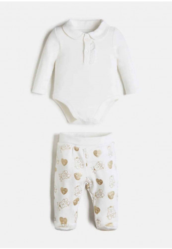Guess Baby Two Piece Body and Pant Gift Box, Ivory