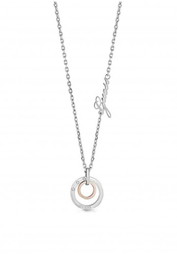 Guess Double Modern Circle Necklace, Silver Rose Gold