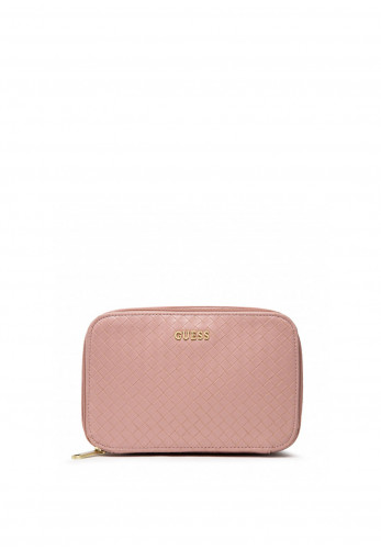 Guess Emelyn Braided Cosmetic Bag, Pink