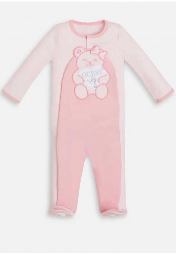 Guess Baby Teddy Print Overall Gift Box, Pink