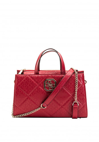 Guess Dilla Medium Quilted Crossbody Compartment Bag, Berry