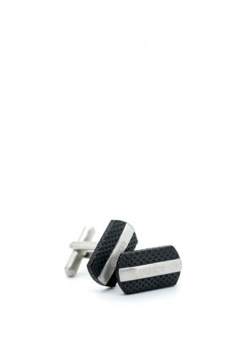 Guess Man Logo Cufflinks, Black & Silver
