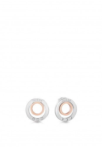 Guess Double Ring Two-Tone Earrings, Silver & Rose Gold