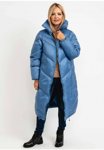 Guess Womens Down Filled Padded Long Coat, Dusty Blue