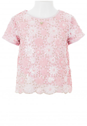Guess Girls Sequin Party Top, Pink