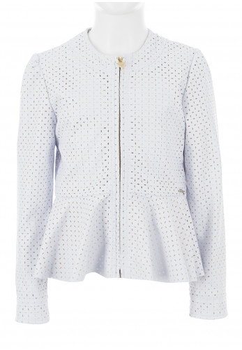 Guess Girls Laser Cut Faux Leather Jacket, White