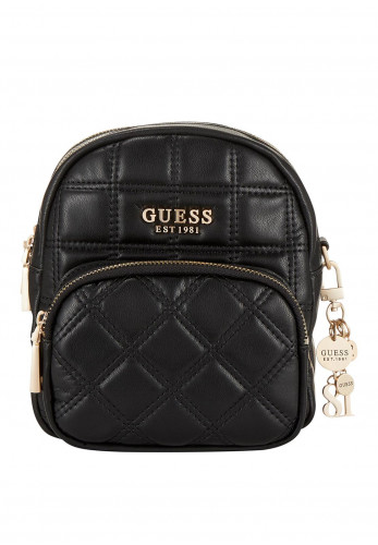 Guess Kamina Quilted Small Backpack Bag, Black