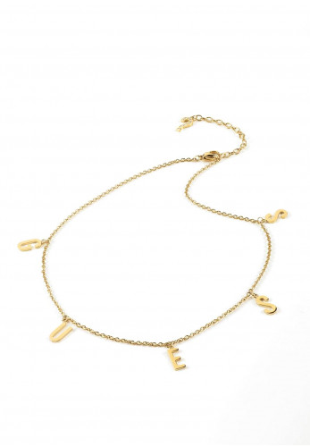 Guess Los Angeles Letter Charm Necklace, Gold