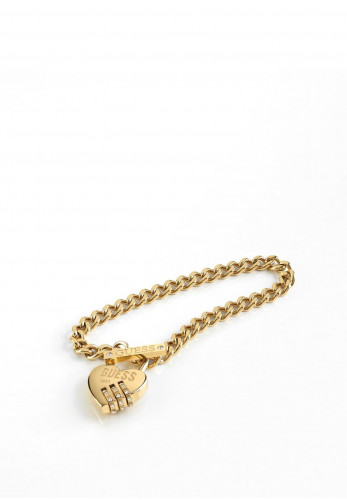 Guess 'Lock Me Up' Chain Bracelet, Gold